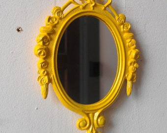 Decorative Wall Mirror, Yellow Home Decor, Apartment Wall, Baby Shower Gifts, Yellow Nursery Wall Art, Beach House, Retro Kitchen