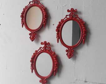 Red Oval Mirror Set, Retro Kitchen, Farmhouse Decor, Boho Wall Hanging, Red Bathroom, Small Decorative Mirrors, Cubicle Accessories