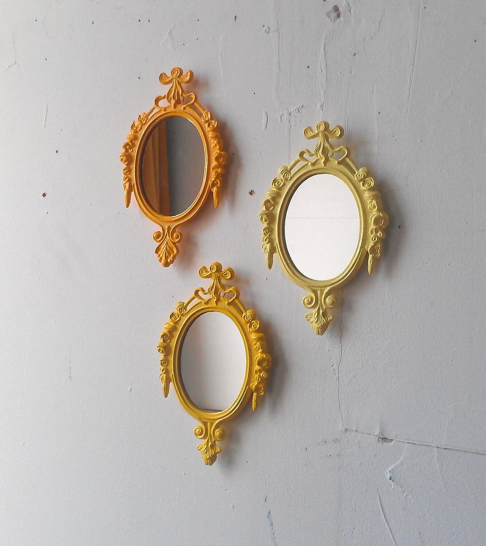 Framed Mirror Set in Three Shades of Yellow Bohemian Wall