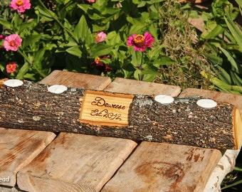 Rustic Log Holder Custom Names Centerpiece 20 Inch 4 Candle Rustic Wedding Cabin Decor Table Piece Slab Ash Wood