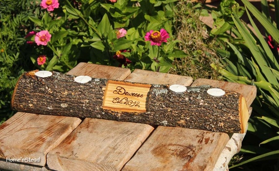 Rustic log holder custom names centerpiece inch candle