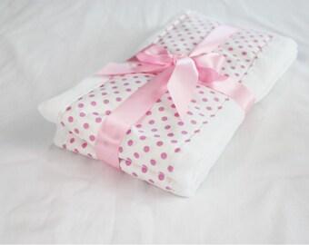 Pink and White Polka Dot Baby Burp Cloths - Set of 2