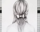 """Original charcoal drawing of """"Emma's Bow"""" - 8X10"""
