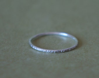 sterling silver band - textured hammered silver ring - MADE TO ORDER