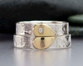 Diamond Heart Wedding Band Set in 14k Gold and Hammered Sterling Silver - We Hold One Heart