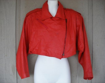One Of A Kind HILTON LEATHER - Red Vintage 80s - Short Crop High Fashion Jacket