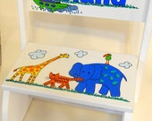 Personalized Child's Step Stool Jungle Animals Primary Colors Red Blue Yellow