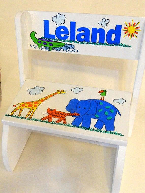 Personalized Child s Step Stool Jungle Animals Primary
