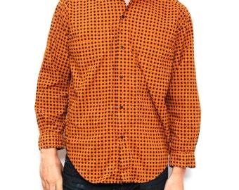 MEN'S vintage BURNT orange surf grunge OXFORD plaid simple grunge button up down shirt size medium men's top