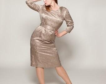 Vintage 1960s Wiggle Dress - Bronze Brocade - Bridal Fashions