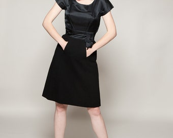 Vintage 1950s Black Fringe Dress - Satin Wool LBD - Holiday Fashions