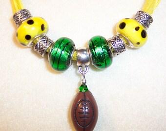 U of O Football Necklace Green Yellow Football Voile European Large Beads Oregon Ducks