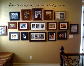Because every picture has a story to tell Vinyl Wall Decal Lettering Decor