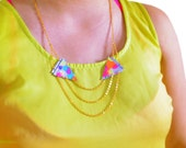 Triangle Geometric Necklace, Leather Collar Necklace, Neon Arrow Chevrons, Tribal Jewelry