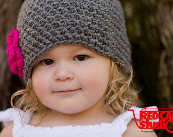Gray Flower Beanie with Pearl Button - Available in 5 sizes