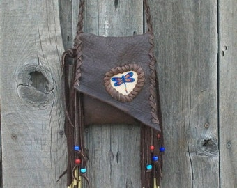 Fringed leather purse with beaded dragonfly totem , Leather smartphone cross body bag , Bohemian gypsy bag