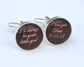 Father of the Bride Cufflinks Unique Wedding Gift for Dad - Custom Cufflinks Personalized in chocolate brown color or custom color