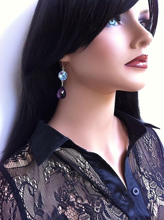 Sale Luxury Amethyst Gold Earrings