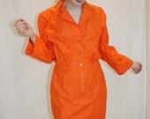 1980's Thierry Mugler Dress Orange Designer Awesome Vintage Retro Hipster High Fashion Size Small Euro size 40