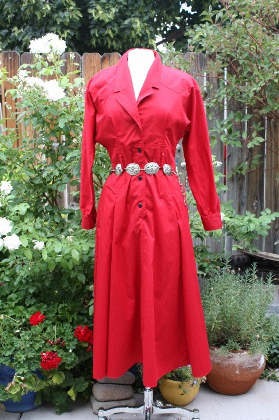 1990's Red Designer Dress Vintage Retro 90s Country Western Cowgirl Hipster Ned Gould NR1 Size 10 Awesome