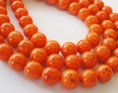 Orange Turquoise Magnesite Brown Veins  Round Beads 10mm / 8 Inch  Strand /Only Beads Not Finished jewelry