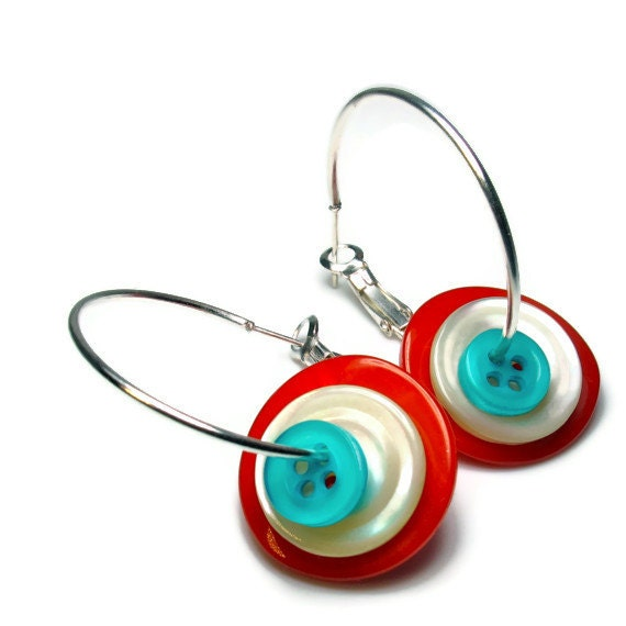 Turquoise And Red Button Earrings Hoop Upcycled Jewelry