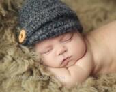 Newborn Newsboy Hat - Gray or Purple Newboys Hat - Crochet Hat - Alpaca Yarn - Photography Prop