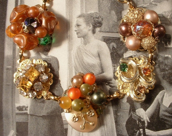 OOAK Vintage Autumn Splendor Pearl, Bead and Rhinestone Gold Bracelet, Vintage Heirloom Repurposed Cluster Earring Bracelet