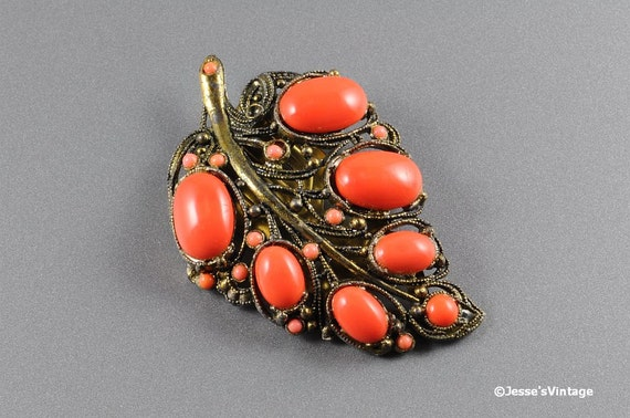 Art Deco Dress Clip New England Glass Works Coral