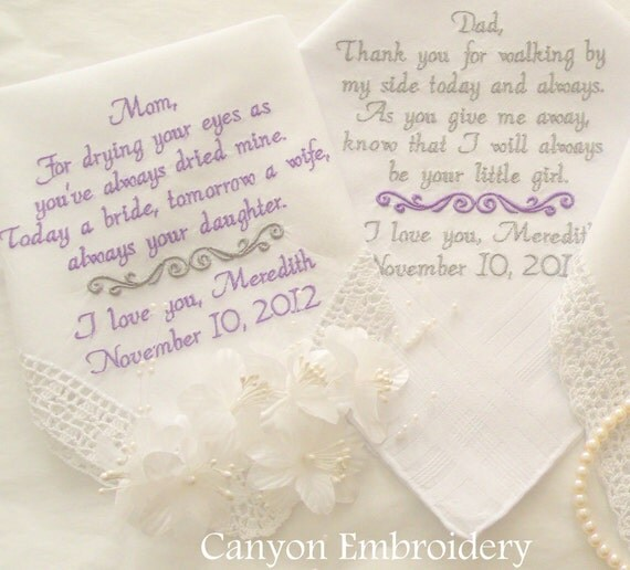 Personalized Gifts, Embroidered Wedding Handkerchief, Mom & Dad GIFTS, By Canyon Embroidery on ETSY