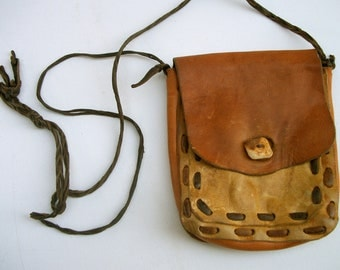 Vintage One-of-a-Kind Hipster Hand Made Leather Purse