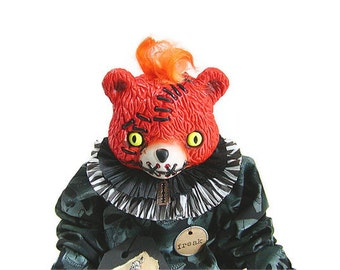 Teddy Bear, Orange, Bear Doll, Creepy Doll, Halloween, Gothic, Green and White, Skulls, Halloween Decoration, Scary, Doll, Prop, Folk Art