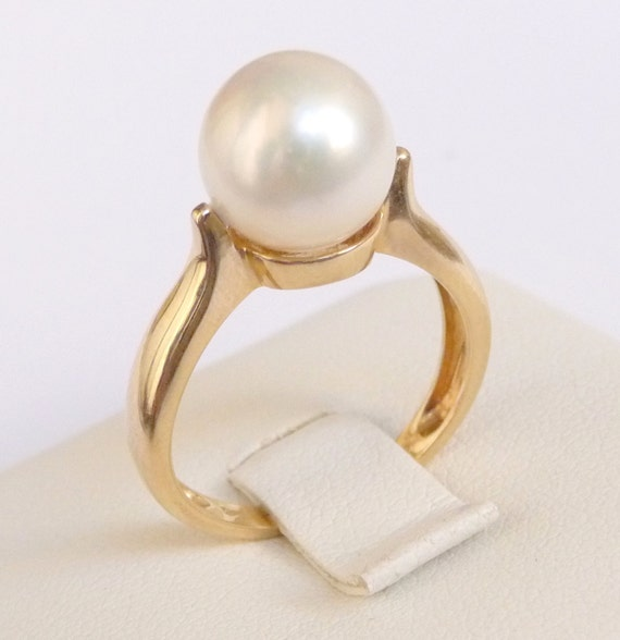 pearl engagement ring solid gold pearl ring smooth white pearl