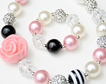 Sweet & Sassy Pink and Black Chunky Girls Necklace and Bracelet Set, Chunky Bead Necklace, Bubblegum Necklace, Gumball Necklace