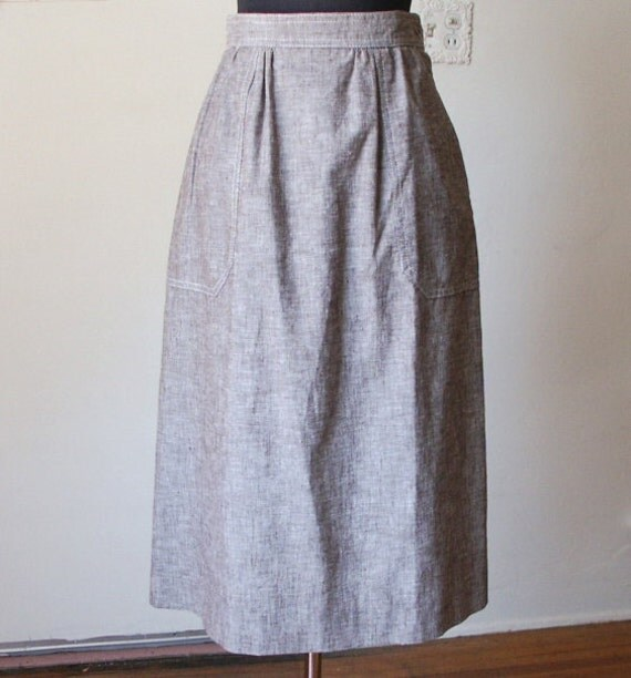 PREPPY Vintage 70's Skirt, Chocolate Brown and White,  A-Line, Women's Size Small, Waist 25