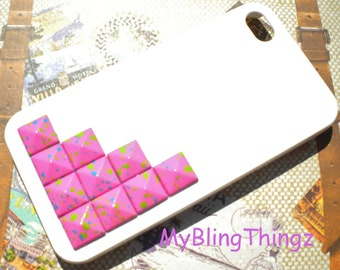 Pink Multi Color Splatter Metal Pyramid Studs on Bright White Case Cover for Apple iPhone 4 4G 4S AT&T Verizon Sprint