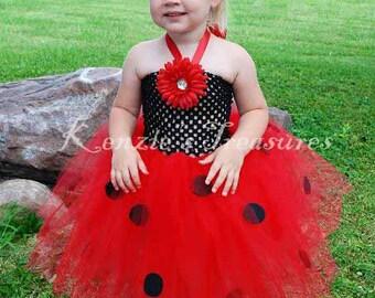 Ladybug Crochet Tutu Halter Dress - Size NB to 24 Months - Can Be Worn Different Ways