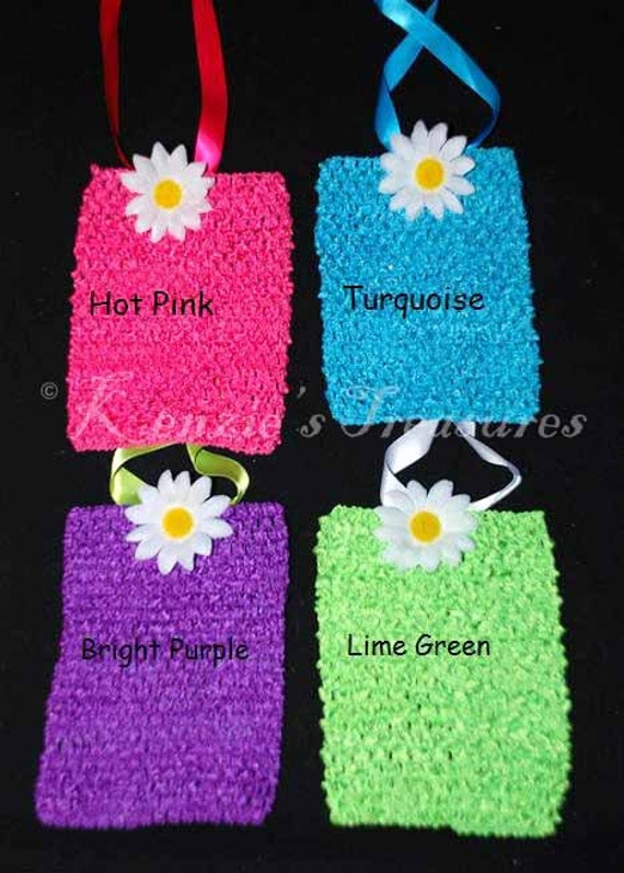"""Create Your Own 6"""" Elastic Crochet Tutu Dress Top With Ribbon and Flower"""