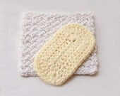 Two Spa Crochet Bath Body Scrubbies, Cotton Washcloths, Nubby Texture, Men and Women