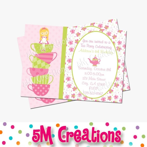butterfly tea party invitation tea party birthday by mcreations, Birthday invitations