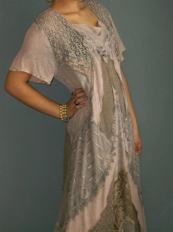 80s layered lace INSANE flapper dress / black overdyed lavender / BA italian / s sm ml l