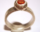 Fine Silver Stackable Ring with Round Brilliant Orange Zircon Recycled Silver Size 8 One Of A Kind Handmade by Lisajoy Sachs Design PMC