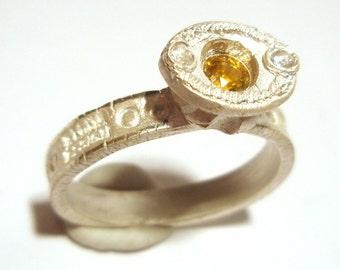 Yellow Sapphire Ring Stackable Fine Silver Recycled Silver Size 9.75 One Of A Kind Handmade by Lisajoy Sachs Design PMC Designer Jewelry
