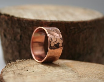 Copper Hammered Mens Ring.  Copper Hammered Band.  Handmade Jewelry By ZaZing on Etsy