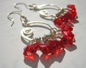 33% OFF SALE -Red Butterfly Earrings - Sterling Silver Hoops, Hammered, Swarovski Crystal Dangles, Chic, High Fashion, Feminine