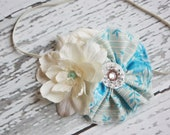 Bye Bye Birdie- blue and ivory floral frayed fabric ruffle and rosette headband