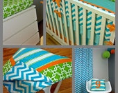Crib Bedding, Oh the Places You Will Go, Featured in Project Nursery ORIGINAL DESIGNER (Modern Baby Bedding)