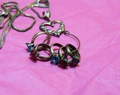 Sterling Silver Charm Necklace Birthstone Ring Gemstone Vintage Jewelry