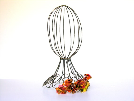 Vintage Wire Hat Stand Antique Metal Millinery Display Head Form