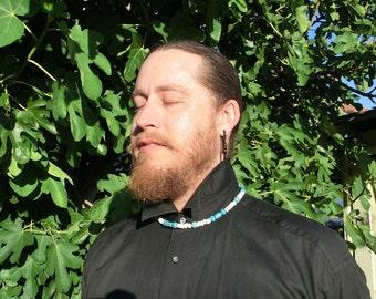 Mens Necklace - Cumulonimbus - Turquoise and Puka Shell - Beadwork - Turquoise Necklace - Shell Necklace - Beach Necklace